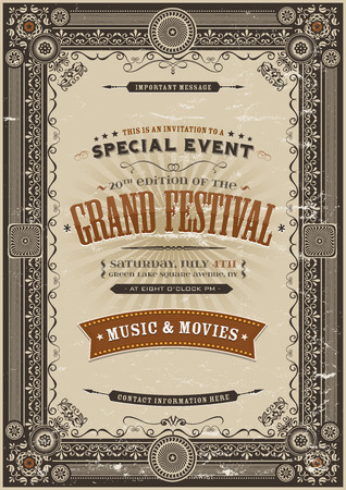 vintage invitation: Illustration of a vintage festival poster background with various elegant floral patterns, frames, banners, grunge texture and retro design