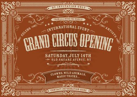 Illustratie van een horizontale vintage retro circus uitnodiging poster achtergrond om een grote opening, met florale patronen, frames, banners, grunge textuur en retro design Stock Illustratie