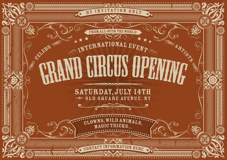 Illustration of a horizontal vintage retro circus invitation poster background to a grand opening, with floral patterns, frames, banners, grunge texture and retro design Ilustração