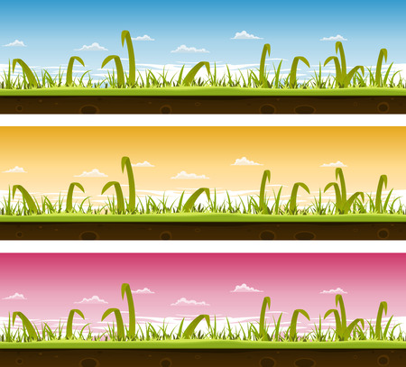 grass blades: Illustration of a set of seamless horizontal spring or summer landscapes with green blades of grass layers, thin and big leaves and ground soil view for ui game Illustration
