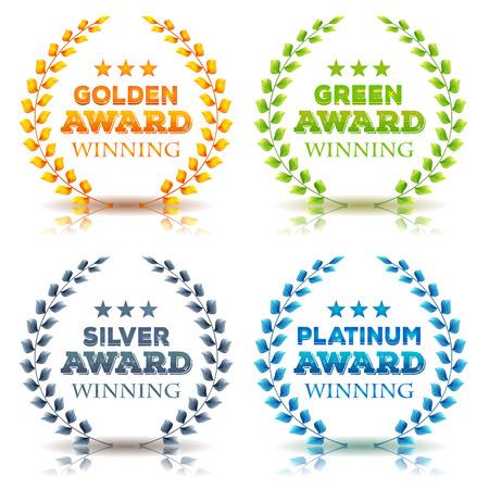 platina: Illustratie van een set van elegante awards winnen lauwerkrans en kronen, in gouden, groene bladeren, zilver en platina diamanten op een witte achtergrond