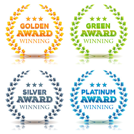 Illustration of a set of elegant awards winning laurel wreath and crowns, in golden, green leaves, silver and platinum diamond on white background