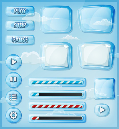 interface menu tool: Illustration of a set of various cartoon design ui glass and crystal see through glossy elements including banners, signs, buttons, load bar and app icon background for tablet pc