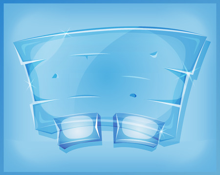 chilled: Illustration of a cartoon design transparent funny glass or crystal dashboard with buttons and interface elements, for ui software or commercial agreement on tablet pc