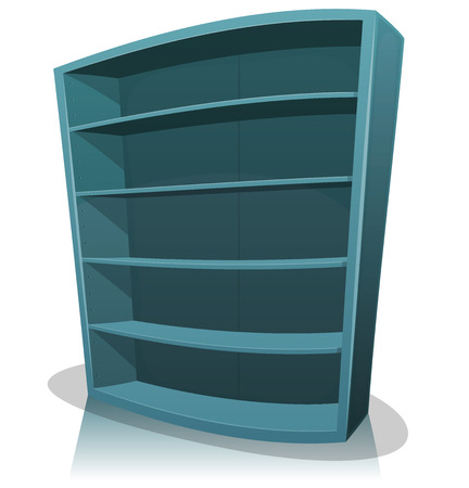 Illustration of a cartoon home, office, school or library blue store wooden bookshelf, empty
