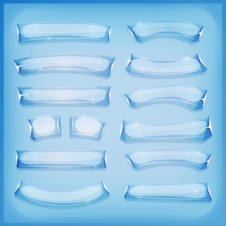 ice: Illustration of a set of comic styled glass, ice or crystal banners and signs for ui game