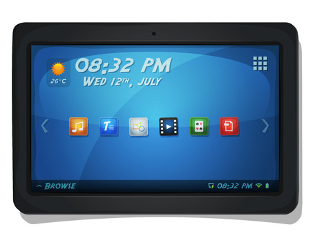 operating system: Illustration of a tactile touch screen digital tablet pc, with operating system icons and navigation menu elements as clock, weather and apps buttons
