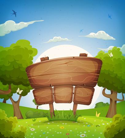 paisajes: Ilustraci�n de un fondo de dibujos animados hermosa primavera o verano del paisaje, con la muestra de madera anuncio, mariposas, golondrinas volando y flores Vectores