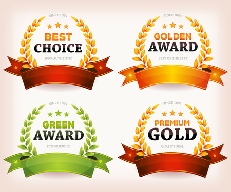 award winning: Illustration of a set of vintage banners and ribbons with gold and green palm awards laurel wreath and crowns, for quality seal products, diploma, arts or official certificates