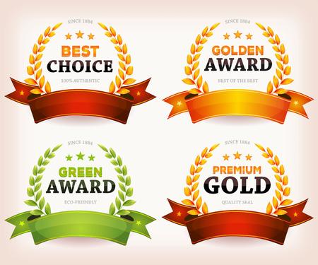 Ilustración de un conjunto de banderas y cintas de la vendimia con el oro y premios de palma verde corona de laurel y coronas, de los productos derivados de la foca calidad, diploma, artes o certificados oficiales