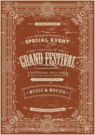 Illustratie van een retro vintage festival poster achtergrond met florale en koninklijke vormen, frames, banners en grunge textuur Stock Illustratie