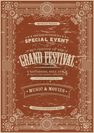 Illustration of a  retro vintage festival poster background with floral and royal shapes, frames, banners and grunge texture Vettoriali