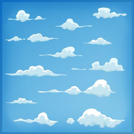 nubes caricatura: Ilustraci�n de un conjunto de nubes de dibujos animados, los patrones de humo y niebla iconos divertido, para llenar sus escenas cielo o ui juegos fondos Vectores