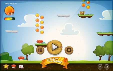 screen: Illustration of a funny graphic platform game user interface design, in cartoon style with basic buttons, icons, status bar, seamless grass and spring landscape, for tablet pc