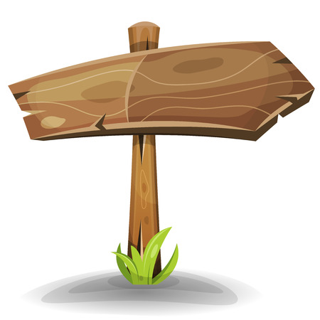 wooden shelf: Illustration of a cartoon comic wood rural directional road sign arrow