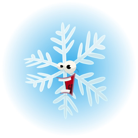 mouth opened: Illustration of a funny cartoon comic winter snowflake character, happy and laughing with big mouth opened, to use as funny mascot for frozen food brand Illustration