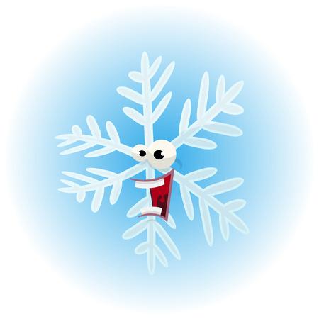 opened mouth: Ilustraci�n de una historieta divertida de invierno c�mico car�cter copo de nieve, feliz y riendo con la boca grande abierto, para usar la mascota tan divertido para la marca de alimentos congelados