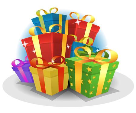 Ilustración de un paquete de dibujos animados de regalos de cumpleaños y aniversario feliz y el cuadro actual