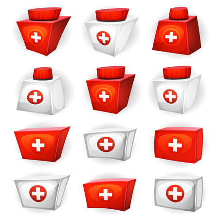 medicine box: Illustration of a cartoon health and medicine resource icons set for game ui
