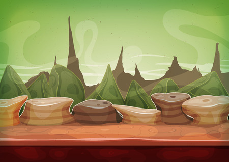 Illustration of a cartoon funny alien planet landscape background, with weird mountains range for ui game Illustration