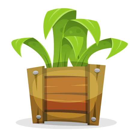 cartoon wood bucket: Illustration of a cartoon simple funny green plant growing inside wood bucket Illustration