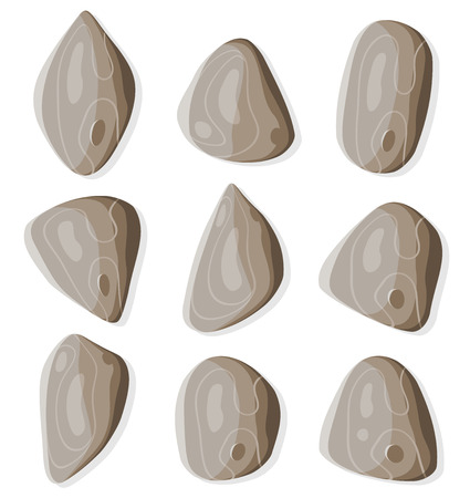 flint: Illustration of a set of funny simple cartoon rocks and stones