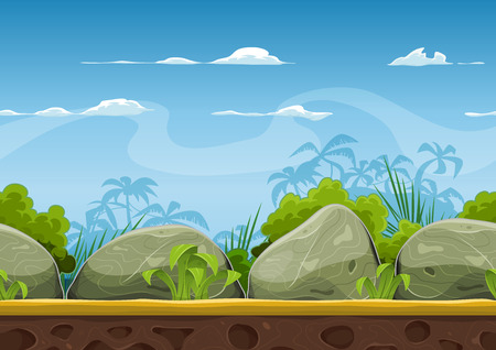 Illustration of a cartoon seamless summer tropical beach ocean background with palm trees, coconuts, boulders, stones for ui game