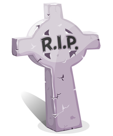 Illustration of a funny cartoon halloween christian tombstone for graveyard landscape with rest in peace inscription Vector