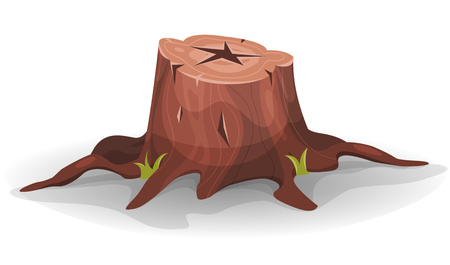 sawed: Illustration of a cartoon funny pine tree stump with roots and some blades of grass Illustration