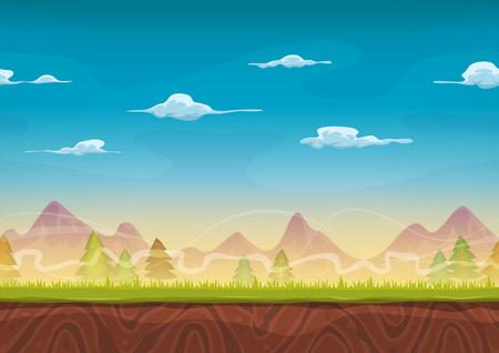 Ilustración de un fondo de dibujos animados montañas sin fisuras con hierba y pinos de juego ui