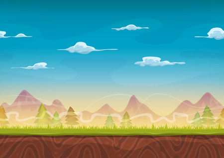Illustration of a cartoon seamless mountains background with grass and pine trees for ui game