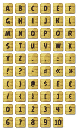 orthographic symbol: Illustration of a set of funny ABC alphabet letters and numbers with font characters on wood signs, for ui game on tablet pc, also containing orthographic symbols and punctuation marks
