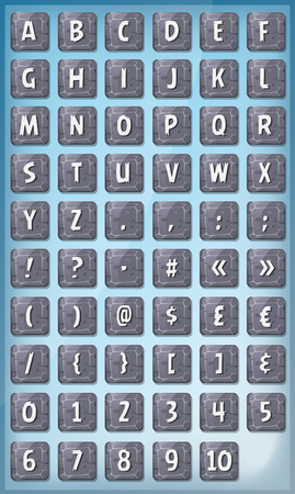 orthographic: Illustration of a set of funny ABC alphabet letters and numbers with font characters on rock signs, for game ui on tablet pc, also containing orthographic symbols and punctuation marks Illustration