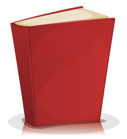 Illustration of a cartoon standing funny blank red covered book isolated on white background Çizim