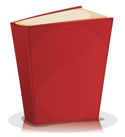 historias de la biblia: Ilustración de una historieta que se coloca en blanco rojo divertido libro cubierto aislado en fondo blanco