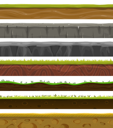 grass field: Illustration of a set of various seamless grounds, soils and land foreground area with blades of grass layers, rocks and underground patterns