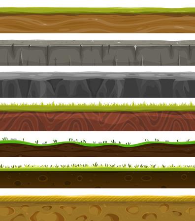 terreno: Illustrazione di una serie di diversi motivi, suoli e terreni primo piano zona senza soluzione di continuit� con fili d'erba strati, rocce e modelli sotterranee