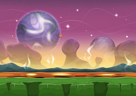 jeu: Illustration d'une caricature transparente drôle de science-fiction Alien Planet fond de paysage, avec des couches de parallaxe, y compris les montagnes bizarres gamme, des étoiles et des planètes pour jeu ui