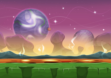 volcanos: Illustration of a seamless cartoon funny sci-fi alien planet landscape background, with layers for parallax including weird mountains range, stars and planets for ui game