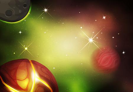 luna caricatura: Ilustración de un hermoso paisaje cómico espacio estrellado con lunas alienígenas, asteroides y júpiter planeta de ciencia-ficción juego ui