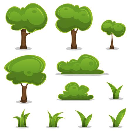 arboles de caricatura: Ilustración de un conjunto de dibujos animados de la primavera o del verano pequeños árboles e iconos verdes, con arbustos, setos y hojas de hierba de juego ui Vectores