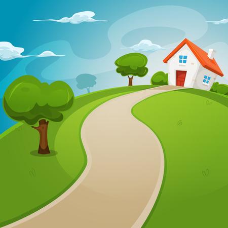 Ilustrace karikatura domu na vrcholu kopce v jarní nebo letní sezónu, dovnitř zaoblené zelenou krajinu