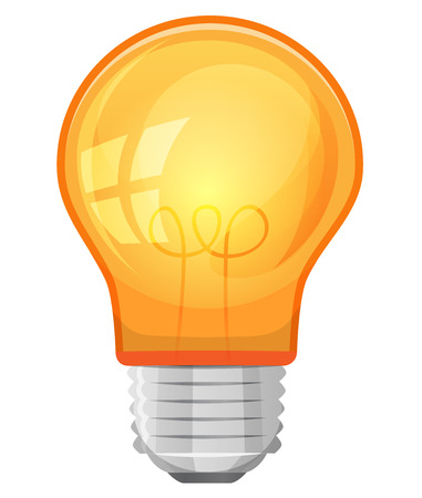 metal light bulb icon: Illustration of a cartoon yellow light bulb, isolated on white for business concept, ideas and success symbols Illustration