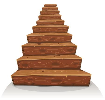 escalera: Ilustración de una escalera de madera de dibujos animados divertido de castillo o la construcción de viviendas de edad Vectores