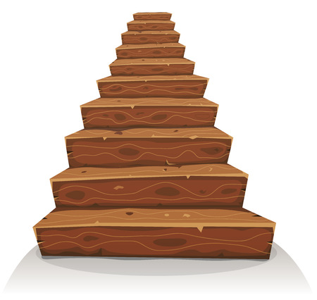 Illustration of a cartoon funny wooden stairway for castle or old house construction