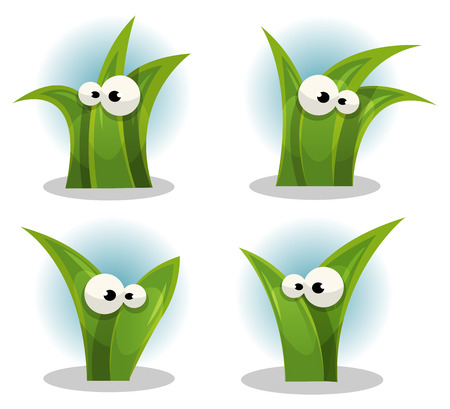 grass blades: Illustration of a set of funny green blades of grass characters with cartoon human eyes Illustration