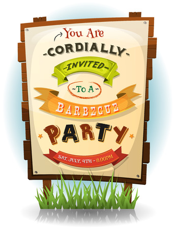 Illustration of a cartoon funny bbq party invitation for fourth of july national holiday celebration, on wood billboard with paper sign Vectores