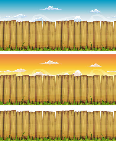 fence: Illustration of a cartoon seamless rural wood fence, with grass leaves and spring or summer sky backgrounds, also isolated on white Illustration