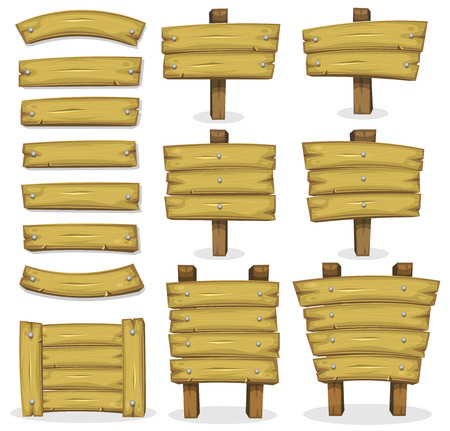 wood planks: Illustration of a set of cartoon wooden award banners and farmers ranch signs, panels and stakes, for rural or agriculture seal and certificates, and for Ui Game