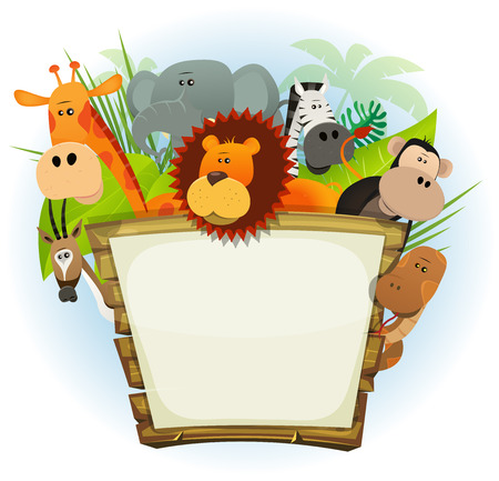 animals: Illustration eines niedlichen Cartoon wilde Tiere aus der Familie der afrikanischen Savanne, darunter Löwen, Elefanten, Giraffen, Affen, Schlangen, Gazellen und Zebras mit Dschungel-Hintergrund